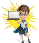 Business Woman Superhero Cartoon Vector Character AKA Madame Supernova - Shape 7