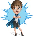 Business Woman Superhero Cartoon Vector Character AKA Madame Supernova - Shape 8