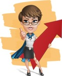 Business Woman Superhero Cartoon Vector Character AKA Madame Supernova - Shape 10