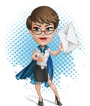 Business Woman Superhero Cartoon Vector Character AKA Madame Supernova - Shape 11