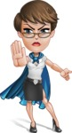 Business Woman Superhero Cartoon Vector Character AKA Madame Supernova - Angry 1