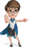 Business Woman Superhero Cartoon Vector Character AKA Madame Supernova - Angry 2