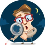 16 Illustrations of Free Geek Vector Character - Solving a case