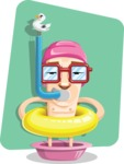 16 Illustrations of Free Geek Vector Character - Too good to swim