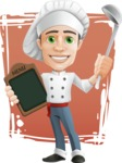 Cartoon Cook Vector Character AKA Mangiarino Yummy - Cook with Restaurant Menu and Background Illustration