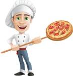 Cartoon Cook Vector Character AKA Mangiarino Yummy - Cooking Italian Pizza