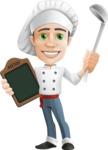 Cartoon Cook Vector Character AKA Mangiarino Yummy - Holding Ladle and Restaurant Menu