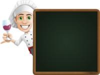 Cartoon Cook Vector Character AKA Mangiarino Yummy - With Dinner Menu Board
