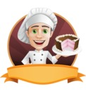 Cartoon Cook Vector Character AKA Mangiarino Yummy - Restaurant Premade Sticker Template with Name and Pastry Cook