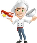 Cartoon Cook Vector Character AKA Mangiarino Yummy - Serving Lobster