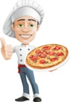 Cartoon Cook Vector Character AKA Mangiarino Yummy - Serving Pizza