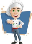 Cartoon Cook Vector Character AKA Mangiarino Yummy - Charming Cook with Background Illustration