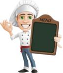 Cartoon Cook Vector Character AKA Mangiarino Yummy - Showing Big Blank Menu