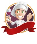 Cartoon Cook Vector Character AKA Mangiarino Yummy - Sticker Template with Label and Professional Cook