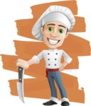 Cartoon Cook Vector Character AKA Mangiarino Yummy - The Best Cook Illustration with Simple Style Background