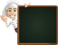 Cartoon Cook Vector Character AKA Mangiarino Yummy - With Big Presentation Board