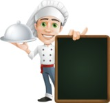 Cartoon Cook Vector Character AKA Mangiarino Yummy - With Big Restaurant Menu Board and a Tray