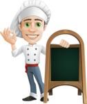 Cartoon Cook Vector Character AKA Mangiarino Yummy - With Blank Menu Board