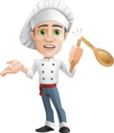 Cartoon Cook Vector Character AKA Mangiarino Yummy - With Broken Cooking Spoon