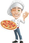 Cartoon Cook Vector Character AKA Mangiarino Yummy - With Delicious Pizza in his Hand