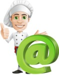 Cartoon Cook Vector Character AKA Mangiarino Yummy - With Email Web Sign