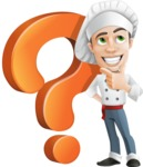Cartoon Cook Vector Character AKA Mangiarino Yummy - With Question Mark