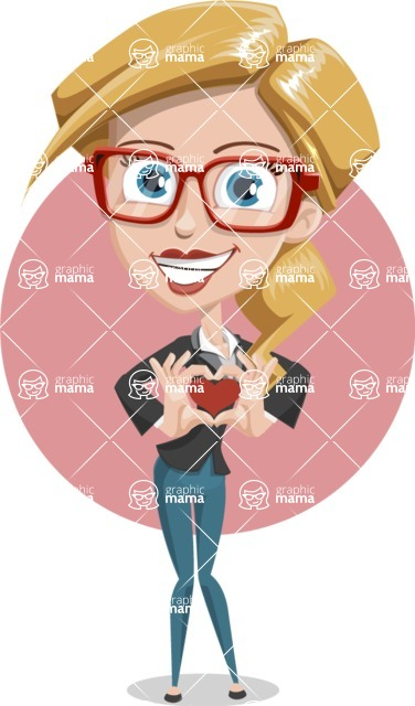 Female Cartoon Character АКА Pam the Lucky Charm - With Heart and Romantic Background