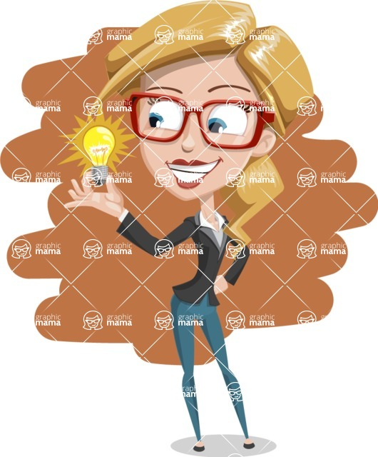 Female Cartoon Character - 112 Illustrations Set - With and Drawn Background