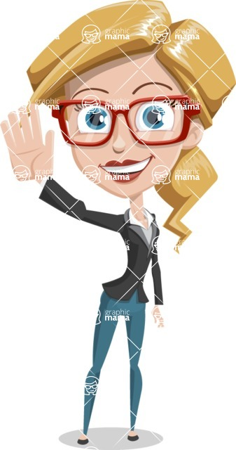 Female Cartoon Character - 112 Illustrations Set - Waving with a Smile
