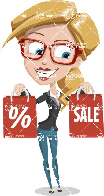 Female Cartoon Character АКА Pam the Lucky Charm - On a Sale with Bags