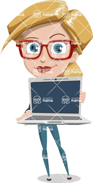 Female Cartoon Character АКА Pam the Lucky Charm - Holding a Laptop