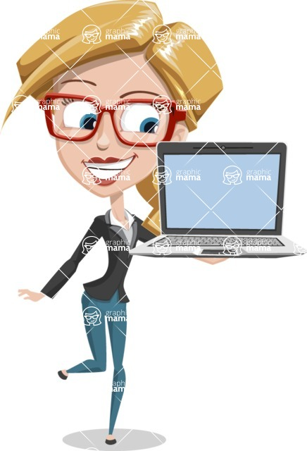 Female Cartoon Character АКА Pam the Lucky Charm - Presenting on Laptop
