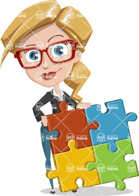 Female Cartoon Character АКА Pam the Lucky Charm - With Puzzle