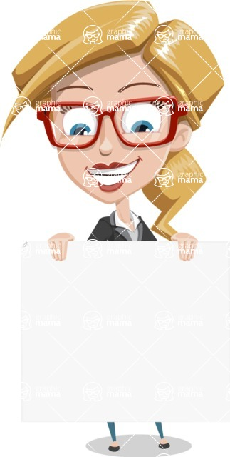 Female Cartoon Character АКА Pam the Lucky Charm - Holding a Big Blank Presentation Sign