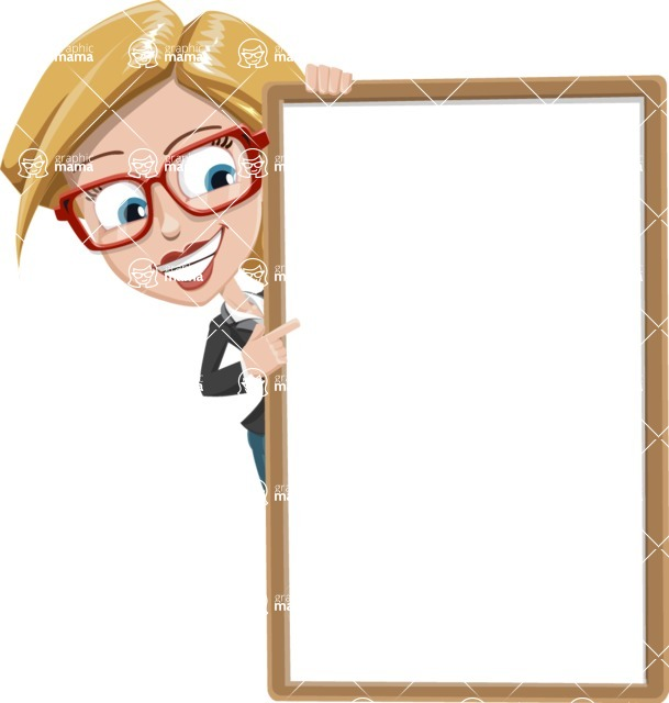 Female Cartoon Character - 112 Illustrations Set - Pointing on a Blank Whiteboard