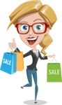 Female Cartoon Character АКА Pam the Lucky Charm - Holding Shopping Bags from Sale