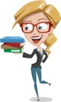 Female Cartoon Character АКА Pam the Lucky Charm - Holding Books