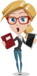 Female Cartoon Character - 112 Illustrations Set - Choosing Between Book and Tablet