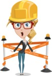 Female Cartoon Character - 112 Illustrations Set - With Under Construction Sign