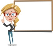 Female Cartoon Character - 112 Illustrations Set - Making a Presentation on a Blank Whiteboard