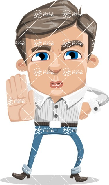 Cartoon Chibi Guy Vector Character AKA Brighton - Stop
