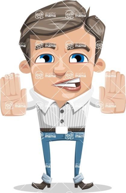 Cartoon Chibi Guy Vector Character AKA Brighton - Stop 2