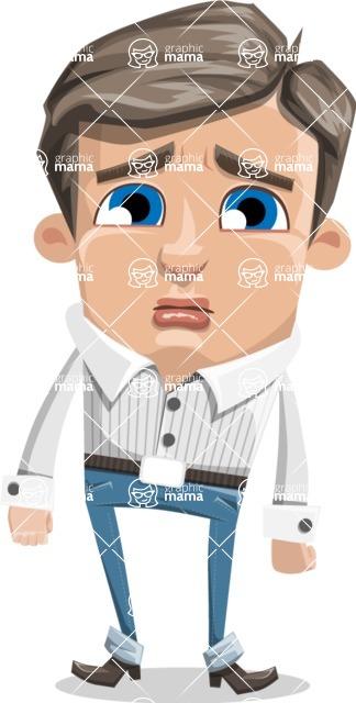 Cartoon Chibi Guy Vector Character AKA Brighton - Sad