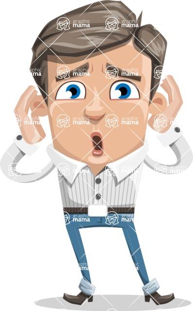 Cartoon Chibi Guy Vector Character AKA Brighton - Shocked