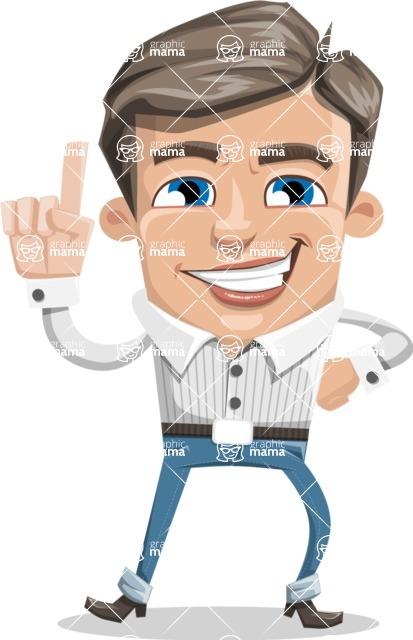 Cartoon Chibi Guy Vector Character AKA Brighton - Attention
