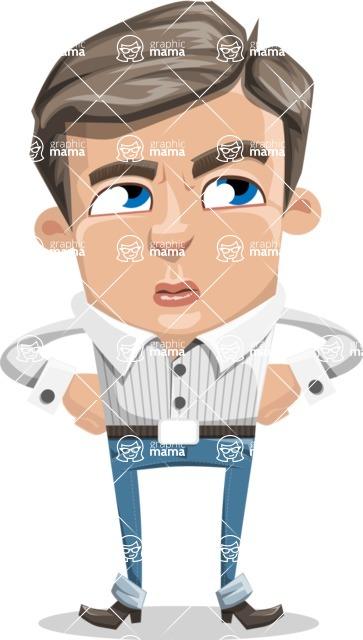 Cartoon Chibi Guy Vector Character AKA Brighton - Roll Eyes