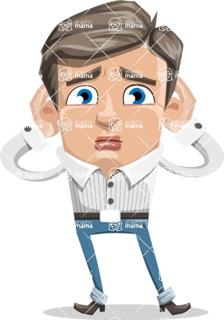 Cartoon Chibi Guy Vector Character AKA Brighton - Confused