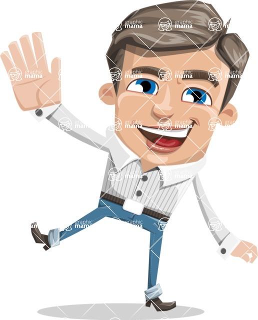 Cartoon Chibi Guy Vector Character AKA Brighton - Hello