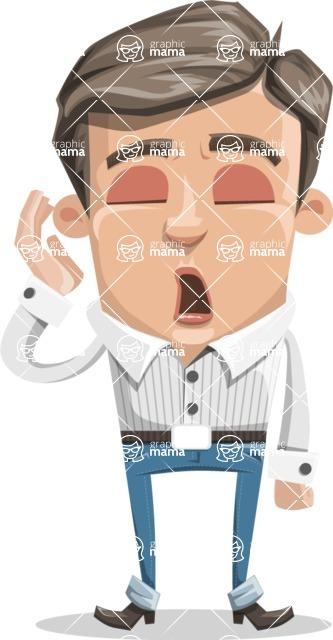 Cartoon Chibi Guy Vector Character AKA Brighton - Bored