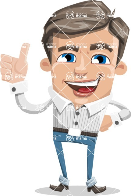 Cartoon Chibi Guy Vector Character AKA Brighton - Thumbs Up